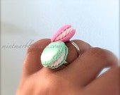 Miniature Macaron Rings. Pink. Mint Green. Sweet Treat. Pastry. Food Jewelry. Silver Adjustable Ring. Sweets. Cake. Yummy. Under 10 Gifts.