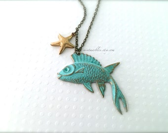 Vintage Style Fish Charm Necklace. Brass Chain. Green Patina. Starfish. Gold. Under 20. Ocean. Beach. Summer Jewelry. Mint Green. Gifts.