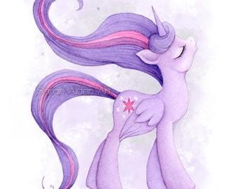 Princess Twilight My Little Pony Art Unicorn Painting Purple MLP Print Girls Nursery Illustration