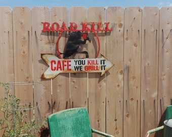 FREE SHIPPING Metal Road Kill Cafe with Buzzard
