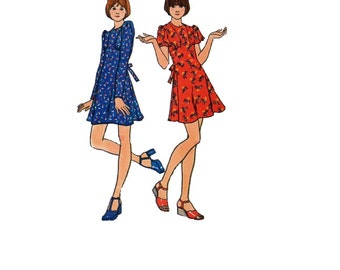Butterick 70s Sewing Pattern 3785 Baby Doll Mini Dress Long Short Flutter Sleeves Full Skirt Tie Back Size 12 Bust 32