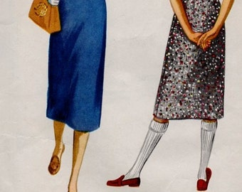 50s Vintage Sewing Pattern McCall's 3369 Slim Fit Wiggle Skirt Easy to Sew Calf Length High Waist 26