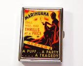 Funny Cigarette Case, retro cigarette case, Reefer Madness, cigarette case humor, Metal Wallet, Marijuana case, cigarette box, weed (4883)
