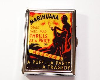 Funny Cigarette Case, retro cigarette case, Reefer Madness, cigarette case humor, cannabis case, Marijuana case, cigarette box, weed (4883)