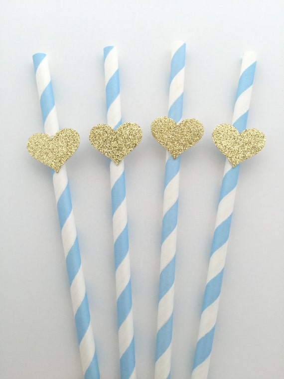 20 LIGHT BLUE Straws with Gold Glitter Heart Party Decorations