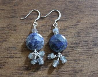 Lapis Lazuli and Labradorite Dangle Earrings