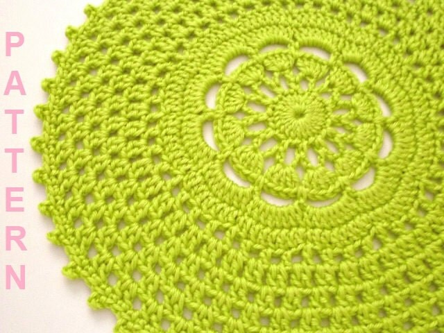 Free Printable Crochet Placemat Patterns : Crochet Picot Edge Placemat Pattern Crochet Placemat Pattern