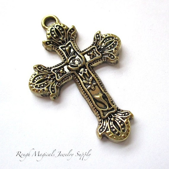 renaissance cross pendant antique gold christian pendant