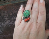 Vintage Hammered Sterling Silver Turquoise Coral Ring Native American Size 11 Mens