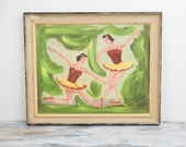 Vintage Primitive Ballerina Acrylic Painting w/ wood frame