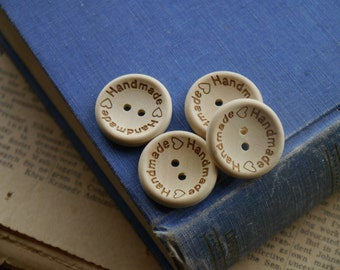 "12 pcs Wooden Natural Colored ""Handmade"" Buttons 25mm (WT2536)"