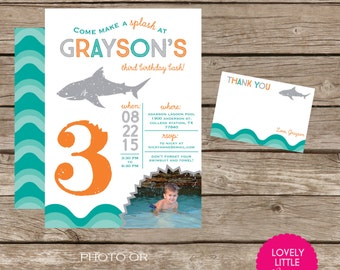 DIY Printable Shark Birthday Invitation Kit - Invite AND Thank You Card included