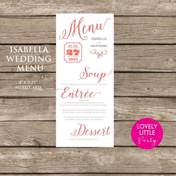 ISABELLA Collection Menu for weddings, showers and parties - Lovely Little Party - You Choose Color