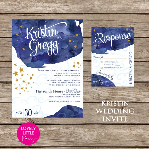 Kristin Collection Watercolor Invitation Set for weddings and special events - Lovely Little Party