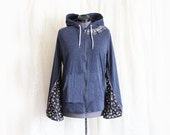Upcycled Hoodie in Speckled Navy Blue with Bell Sleeves in Floral Print with Side Pockets Boho Hippie Fashion Recycled Clothing Size Large