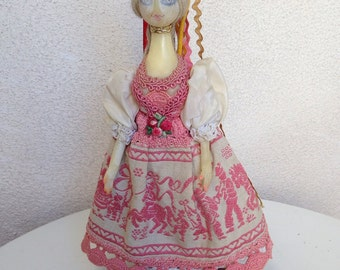 SALE Vintage unique creepy resin doll figurine Polish dress 10""