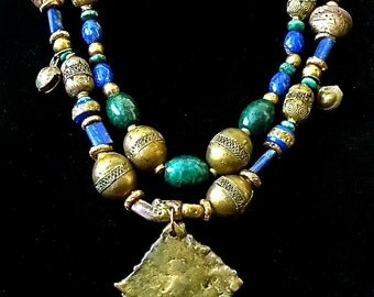 Elegant Ethnic Beaded Necklace,Double Strand,Lapis Lazulli, Malachite,Vintage Moroccan Brass Beads,Wearable Art Necklace,Joy Moos Collection