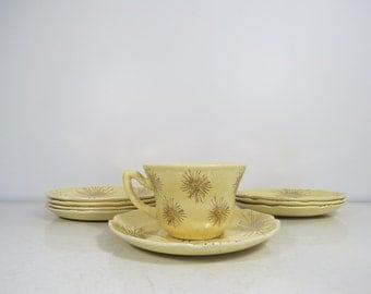 Mid Century Dishes Set Gold Starburst Four Plates, Teacup Saucer, Off-White, Atomic Retro Lot of Dishes Starter Set Ceramic China