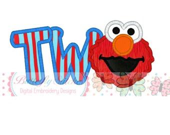 Elmo Two Birthday Digital Machine Embroidery Appliqué Design