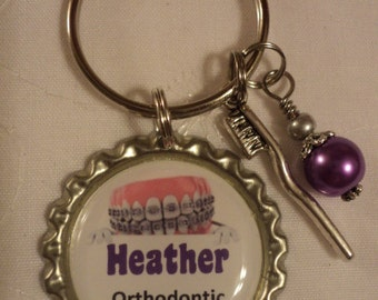Personalized Orthodontic Assistant key chain with charms
