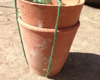 Terracotta pots, set of 2, vintage plant pots, 4 inch, clay pots handmade