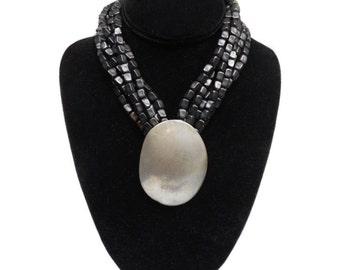 vintage BEN AMUN statement necklace / pewter metal black beads / multi strand necklace / boho bohemian / vintage necklace / vintage jewelry