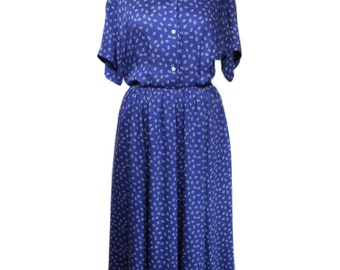 vintage 1980s RALPH LAUREN dress / blue / rayon / novelty print / 80s does 40s dress / women's vintage dress / size 8