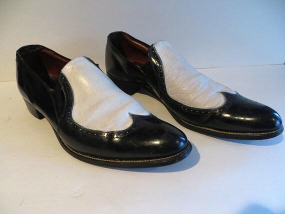 vintage mens 60s shoes black and white spectator slip on
