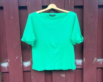 Vintage Green Short Sleeved Ralph Lauren Cotton T Shirt Size Large