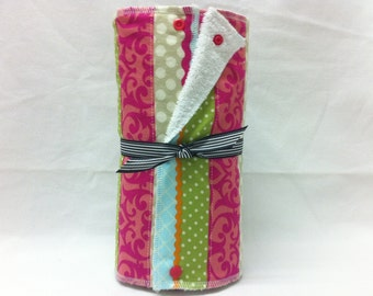 Unpaper towels, reusable paper towels, cloth paper towels, snapping paper towels - Multi Color Stripe