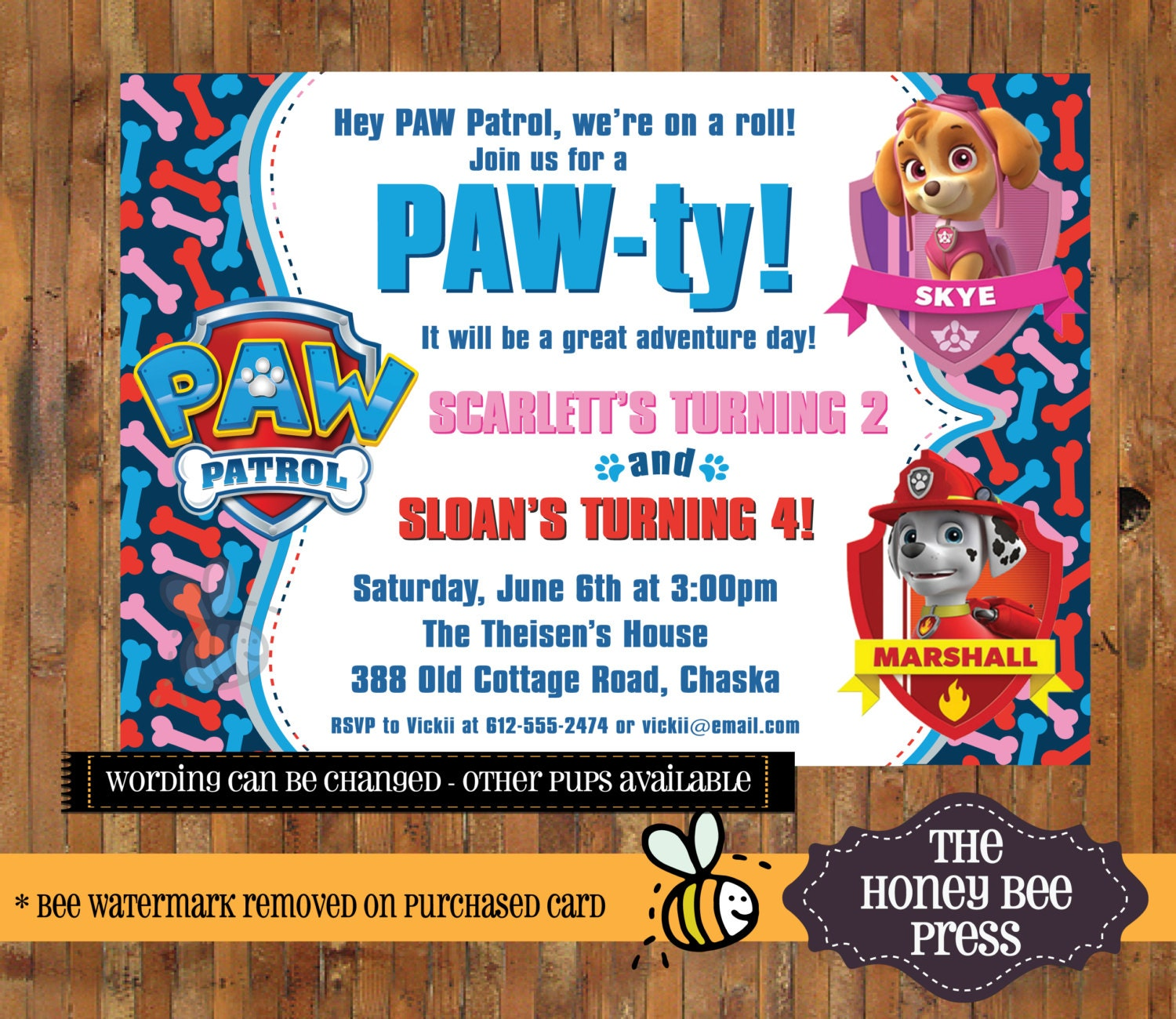 Paw patrol birthday invitation joint birthday skye and for Paw patrol invitation template free