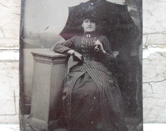 Tin Photograph, 1800s, Tintype Photo, Victorian, Edwardian, Fashion, Photography, Bustle, Victorian Fashion, Civil War, Umbrella