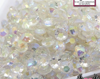200 pcs 5mm AB CLEAR Transparent Decoden Faceted Flatback Rhinestones Cellphone Decoden DIY