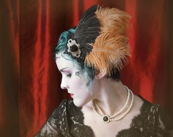 Burlesque feather assemblage with antique black gem and black quail wing ~ Masquerade ~ Steampunk Party ~ Dia de los Muertos
