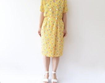 Vintage yellow floral 90s midi short sleeve summer dress