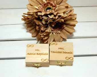 TWO Personalized Bridesmaid Little Favor Boxes for Rustic Weddings, Maid of Honor, Will you be my Bridesmaid