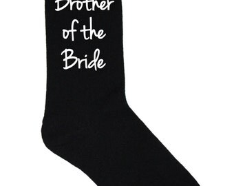Brother of the Bride Socks - Black Wedding Socks - Size 10-13