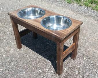 raised dog feeder / raised pet feeder / raised dog bowl / dog feeding station (Large) elevated food bowl /  tall dog feeder