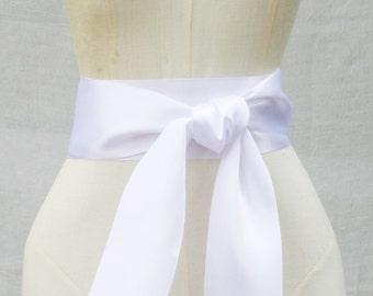 White Ribbon Sash - 3 inch width x 144 inches length (4 yards)-Wedding Sash, Bridal Sash, Plain Sash, Wide Sash, White Belt