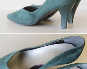 Forest green faux suede mid heel pumps shoes 6.5
