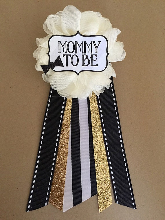 baby boy bowtie baby shower pin mommy to be pin flower ribbon pin