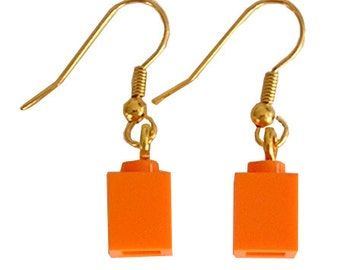 Orange LEGO (R) brick 1x1 on a Silver/Gold plated dangle (hook)
