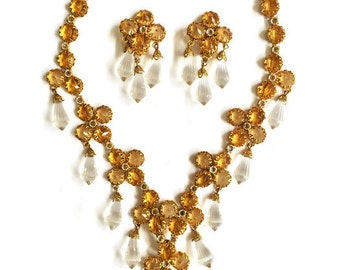 Vintage Schreiner New York Citrine Rhinestones and Crystal Briolettes Necklace and Earrings Set