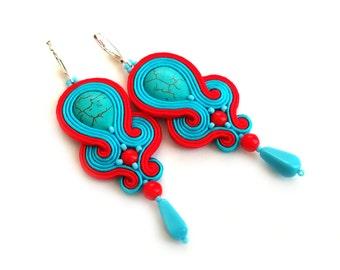 Bohemian jewelry - Native American earrings - Boho Southwestern - Soutache earring - Wife Girlfriend Gift - Anniversary - Maid of honor Gift