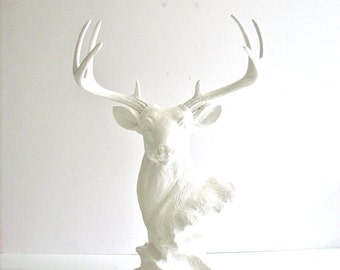 WHITE Deer Head Stag Animal Bust statue for table top in all white:  jewelry hanger ring holder nursery kids room office decor