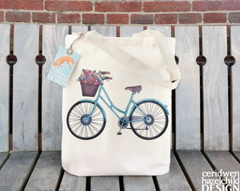 Bicycle Tote Bag, Ethically Produced Reusable Shopper Bag, Cotton Tote, Shopping Bag, Eco Tote Bag, Reusable Grocery Bag