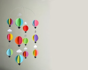 "Hot Air Balloon Baby Mobile ""Bright Spark"" - Bright Nursery Decor - Crib Mobile - Baby Shower Gift - New Baby - Gender Neutral Baby Gift"