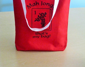 Mahjong totes with Mahjong theme design red color