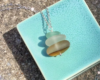 Long Stacked Pendant Beach Glass Necklace