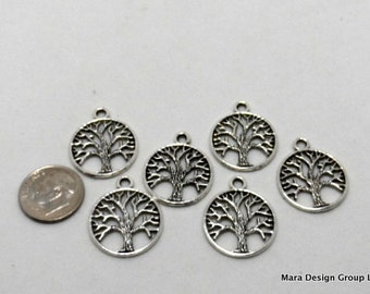 Tree of Life charms/pendants - 20mm silver tone, eigh pieces (8)